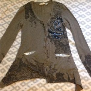 Miss Me Embellished Button up brown cardigan